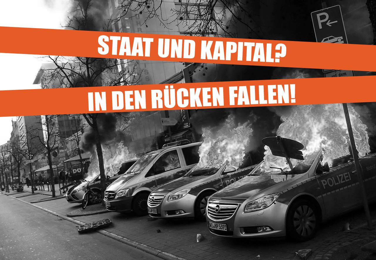 Bullenwagen Flammen EZB Frankfurt